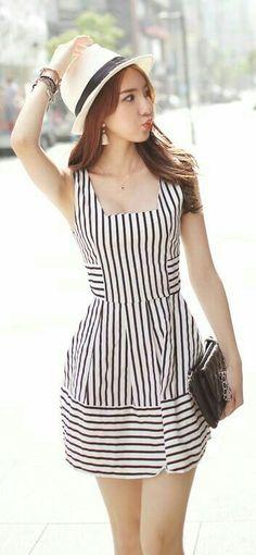 Stripes Printed Dress Shop Now: fusionfever.com