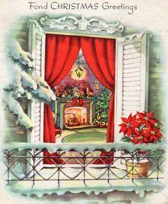 Vintage Christmas Images, Retro Christmas, Vintage Holiday, Christmas Pictures, Vintage Images, Vintage Greeting Cards, Christmas Greeting Cards, Christmas Greetings, Christmas Scenes