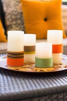 una buena idea para darle un toque de color a las velas blancas, para decorar cualquier espacio y en cualquier momento