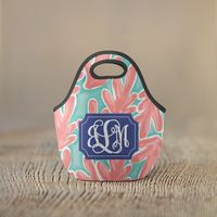 Personalized Lunch Bag - Pink Coral with Vine Monogram