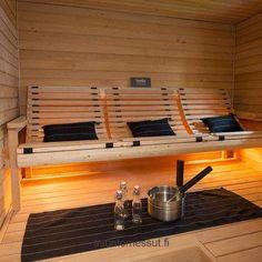 In this sauna everyone can sit an relax, Esteetön sauna, accessible sauna, tuntu, riippulaude Sauna Design, Home Gym Design, House Design, Diy Sauna, Home Spa Room, Spa Rooms, Sauna Steam Room, Sauna Room, Saunas