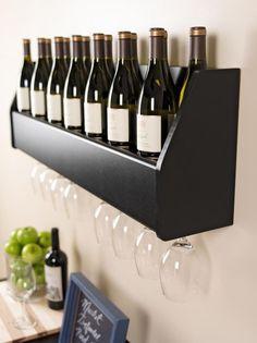 Floating Wall Mount Wine Rack Glass Holder Storage Bar Rail Hang Shelves Liquor