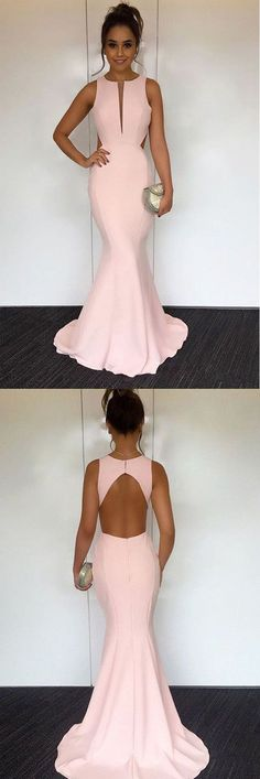 mermaid pink prom party dresses with open back , fashion formal evening gowns, simple key hole prom dresses with train.