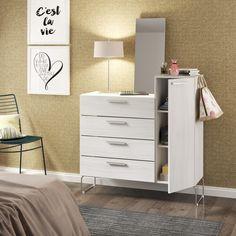 Esta cômoda tem 4 gavetas, prateleiras e #espelho! Você pode usar até como #penteadeira! #decoração #design #madeiramadeira