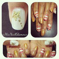 Stars, stripes and gold nail art