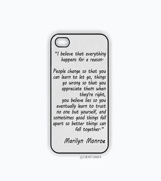 Marilyn Monroe Quote Iphone 5 case, Iphone 5s case, Hard Plastic Case