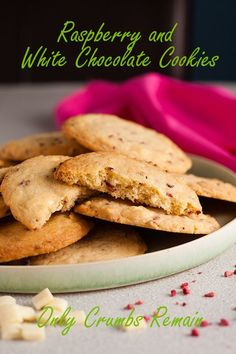 A delicious variation on the classic choc-chip cookie. Raspberry and white chocolate chip cookies are quick and easy to make and taste divine. White Chocolate Recipes, White Chocolate Chip Cookies, Sweet Recipes, Bar Recipes, Fruit Recipes, Cookie Recipes, Dessert Recipes, Recipe Creator, Dried Strawberries