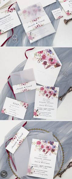 Try this pink and purple watercolor wedding invitations with vellum wrap, cheap wedding invitations diy, transparent wedding invitations, summer or fall woodland weddings Spring Wedding Invitations, Wedding Invitation Card Design, Floral Invitation, Wedding Stationery, Invitation Paper, Watercolor Wedding Invitations, Calligraphy Watercolor, Watercolor Design, Color Rosa