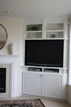 awkward corner between a fireplace and an exterior wall? corner built in! awkward corner between a fireplace and an exterior wall? corner built in! Corner Tv Cabinets, Built In Cabinets, Built In Tv Cabinet, Corner Cupboard, Kitchen Corner, Corner Tv Shelves, Corner Media Cabinet, Cupboard Ideas, Cupboards