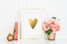 Heart Gold Foil Print - gold foil print - heart wall decor -gold nursery decor - gold office decor - gold office print - gold wall print by craftmeigold on Etsy https://www.etsy.com/listing/258159257/heart-gold-foil-print-gold-foil-print