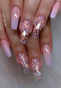 Ballerina nails ombre nails glitter nails spring nails 34 trendy summer nails designs that are so perfect for 2019 Nail Design Glitter, Cute Acrylic Nail Designs, Short Nail Designs, Clear Nail Designs, Clear Glitter Nails, Coffin Nails Glitter, Ombre Nail Designs, Acrylic Nails With Design, Best Nail Designs