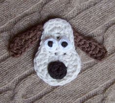 Crochet Applique Dog by meekssandygirl on Etsy So looks like that famous plasticine dog :)