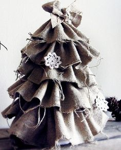Click Pic - 30 Christmas Tree Decorating Ideas - Burlap Tree - DIY Christmas Decorations