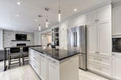 armoires cuisines - Google Search Kitchen Reno, Home Decor Kitchen, Home Kitchens, Kitchen Remodel, Kitchen Dining, Kitchen Stuff, Kitchen Ideas, Kitchen Utilities, Kitchen Cabinet Storage