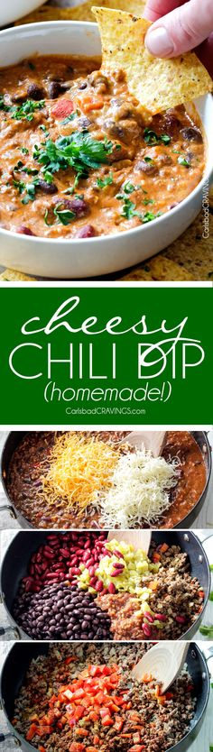 this the BEST Homemade Cheesy Chili Dip and my favorite dip ever! LOADED with your favorite chili ingredients, spices and SO irresistibly cheesy with NO processed cheese! Serve as a crowd pleasing appetizer that everyone will go crazy for!