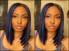 Tutorial: AMREZY INSPIRED! Chic and SLEEK middle and side part BLUE BOB - YouTube