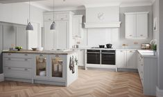 Featuring the finer trimmings of a traditional kitchen design and an exquisite ash-grain finish, Mornington Beaded cleverly explores the ornate detailing of a classic shaker style, through the addition of an elegant bead. Grey Shaker Kitchen, Shaker Style Kitchens, Grey Kitchens, Modern Farmhouse Kitchens, Kitchen Cabinet Styles, Kitchen Units, New Kitchen, Kitchen Ideas, Kitchen Designs