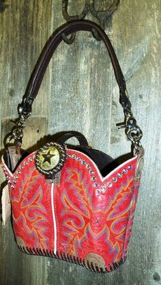 Red Cowboy Boot Purse With Crystals From Diamond 57 Purses Boots