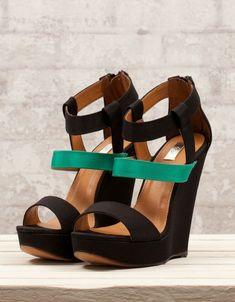 chaussures compensées bicolores