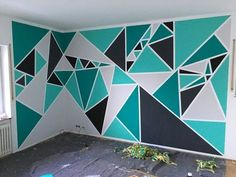 Creative DIY Wall Art Ideas on a Budget - Geometric Creative DIY Wall Art Ideas on a Budget - Geometric Gemoteric wall patterns - blues and greens Room Wall Painting, Room Paint, Creative Wall Painting, Tape Painting, Diy Wall Art, Wall Decor, Tape Wall Art, Room Decor, 3d Wall