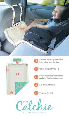 ♡ it www.catchieconcepts.com  The Catchie!   #catchie #travelgear #trendytots #travelwithkids #carseatswag #toddlermess #parenttested #forwardfacing #rearfacing #zulilyfinds #shopping #musthave #modernmom #carseatprotector #kickmat #seatguard #minivan #momcar #dadsride #messycarseat