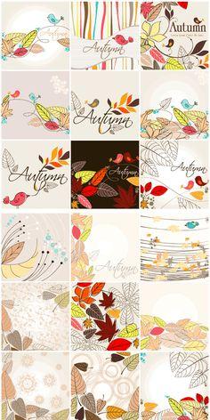 秋にピッタリなレトロデザインと色合い、手書きのようなスケッチ風のタッチもGOOD! 背景素材を同系統の2セット…