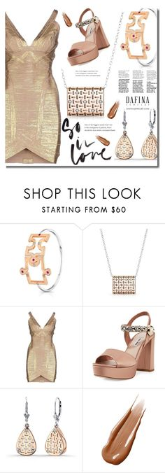 """Dafina jewelry"" by edy321 ❤ liked on Polyvore featuring Hervé Léger, Miu Miu, Hourglass Cosmetics, engagementrings, finejewelry, weddingbands and dafinajewelry"