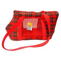 Bolsa de Transporte Marrie - Xadrez Vermelho - São Pet - Linda bolsa de transporte em lona, mais resistente e durável, além de estilosa, é confortável e segura para você e seu Pet! MeuAmigoPet.com.br #petshop #cachorro #cão #meuamigopet