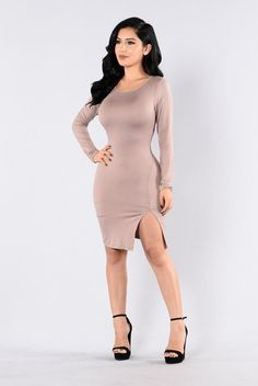 - Available in Coco, Marsala, and Olympic Blue - Round Neckline - Long Sleeve - Fitted - Knee Length - Front Side Slit - 96% Rayon, 4% Spandex