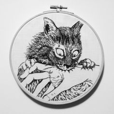 Hand embroidery. Cat Diary by Junji Ito. Instagram @themoonjade
