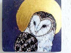Sainted Barn Owl Painting. Fine Art. Original Oil by SorchaMoon