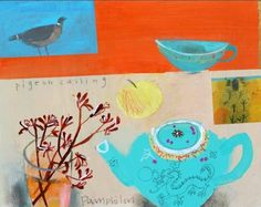 """Chinese teapot and pigeon calling"" by Elaine Pamphilon"