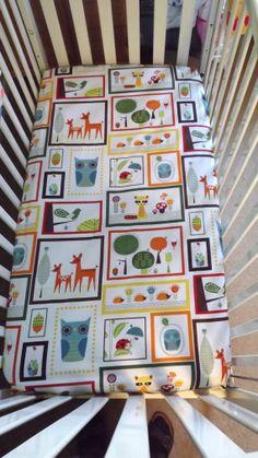 Crib Sheet Fitted Owl Deer  Crib Quilt Baby Nursery Baby Bedding Owl Decor Modern via Etsy