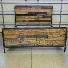 Industrial Style Reclaimed Wood Bed with Semi-Gloss Finish Industri. - My Pins - Industrial Style Reclaimed Wood Bed with Semi-Gloss Finish Industrial style reclaimed - Pallet Furniture Designs, Pallet Designs, Diy Furniture Plans, Custom Furniture, Quality Furniture, Steel Furniture, Cheap Furniture, Welded Furniture, Furniture Vintage