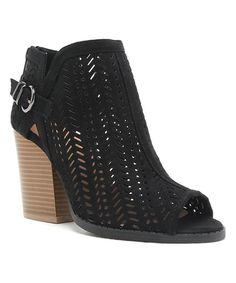 Look at this #zulilyfind! Black Perforated Barnes Bootie by Qupid #zulilyfinds