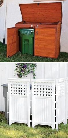 Keep those trash cans hidden! ~ I love these curb appeal ideas and exterior make .Keep those trash cans hidden! ~ I love these curb appeal ideas and exterior makeovers! Lots of easy DIY projects Budget Patio, Patio Diy, Backyard Patio, Patio Ideas, Garden Ideas, Backyard Ideas, Porch Ideas, Pergola Ideas, Easy Garden