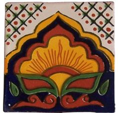 """4"""" x 4"""" Talavera Handpainted Mexican Tiles. Please Note: Your item is custom made for you by an Artisan in Mexico. Your item will ship in less than 10 days. Fedex Domestic Shipping with Door to door t"""