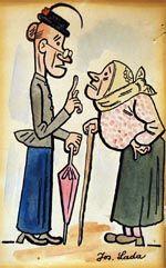 Dvě klepny   akvarel, tuš na papíře, 15 x 9,5 cm The Good Soldier Svejk, G Words, Commercial Art, World War One, First Novel, Czech Republic, Vintage Art, Illustrators, Fairy Tales