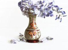 Copper etching folk art vintage TINY flower VASE by cabinetocurios