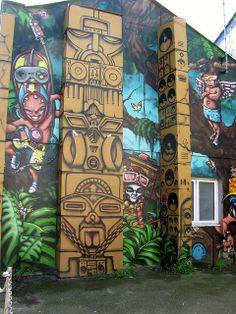 Graffiti by Saggitar - Brighton, UK. Jungle Boogie Boom Box Tiki Totem Singing Spray Paint Brilliant Symbolism