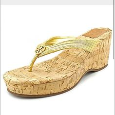 """Tory Burch Suzy Leather Gold sandal Wedge shoes Too cute! Tory BurchSuzy Leather Wedge Sandals! With Gilded embossed snakeskin and polished logo detailing elevate these breezy Tory Burch wedges with a double dose of shine. Open toe; slip on 3"""" heel, 1.25"""" platform, feels like 2.75"""" Size 8. Previously loved. Tory Burch Shoes Sandals"""