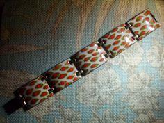 Stunning vintage Kay Denning dragon scale design enamel bracelet RARE DESIGN