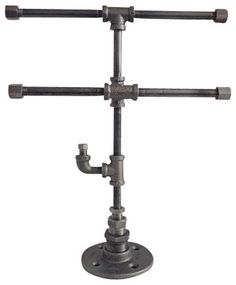 Industrial Pipe 2 Tier Jewelry Stand with Ring Hook - industrial - Jewelry Boxes And Organizers - Industrial Home Bazaar