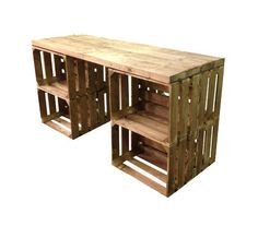 Introducing Our new desk for home, office or shop display This unit comes with a two inch solid wooden desktop and a choice of 8 Veg Box Crates or 8 standard cr is part of Crate desk - Wooden Crates Desk, Crate Desk, Crate Table, Crate Bar, Apple Crate Shelves, Apple Crates, Diy Makeup Vanity, Makeup Desk, Home Desk