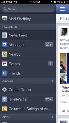 Facebook iPhone custom navigation screenshot