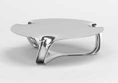 Flow Side Table 2010 Mirror polished aluminum - Timothy Schreiber