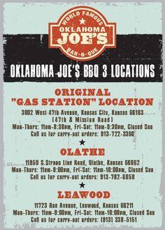Oklahoma Joe's - Best BBQ in KC says me and Anthony Bourdain Kansas City Missouri, Oklahoma, Kansas City Restaurants, Joes Bar, Backyard Barbeque, Bar B Que, Best Bbq, Smoker Recipes, I Want To Eat