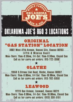 Oklahoma Joe's | voted #1 BBQ restaurant in Kansas City by Zagat 2004 - 2012 | (I may have to have a cheat meal on my way home!  Thanks, @Elizabeth Ridgway !!)