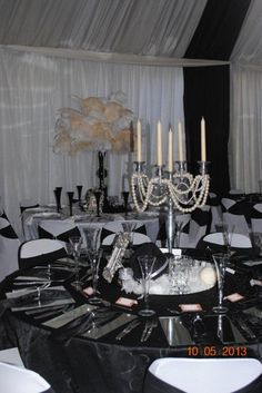 Great Gatsby themed decor...different piece at each table
