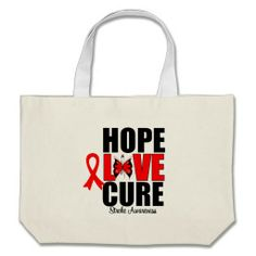 Stroke Awareness Hope Love Cure Bags by giftsforawareness.com #StrokeAwareness #StrokeAwarenesstotebags